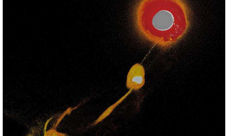 研究人员调查早期地球与火星大小的物体之间的碰撞可能如何导致月球形成的3D模拟横截面的静止图像.png